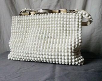1960s White Grandeé Beaded Purse