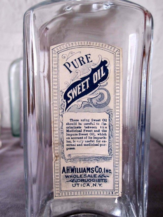 RESERVED for Alaina - Sweet Oil Apothecary Bottle from Utica NY