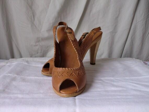 Boho Leather Peeptoe Platform Sandals