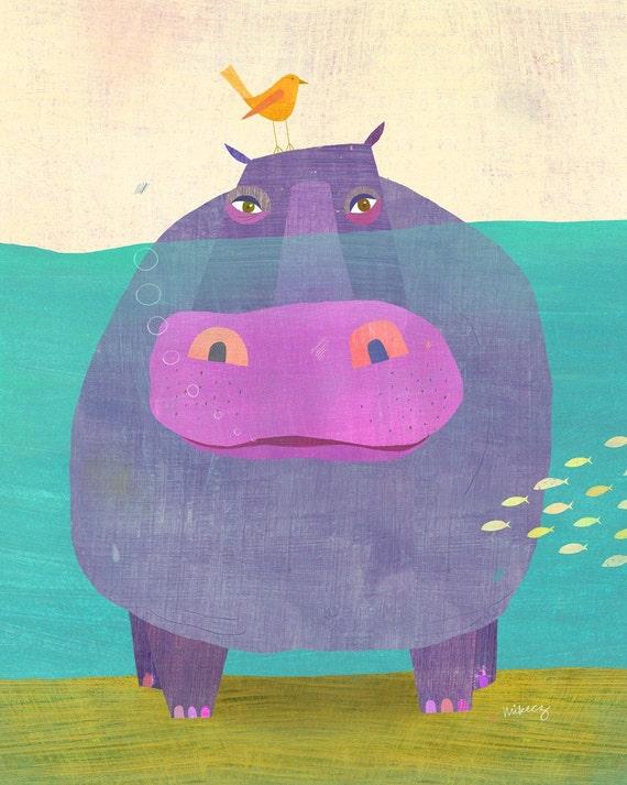 "Underwater Hippo Print 8""x10"""