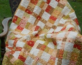 FREE U.S. SHIPPING - Twin quilt with Moda Patisserie by Fig Tree