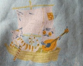 Owl and Pussycat Handbag, Fairytale Purse, Heather Ross Fabric, Cotton/Linen & Velvet, Pale Blue, Fantasy, Retro, Storybook