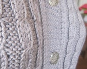 Cardigan Sweater, Hand Knitted, Bamboo Blend Yarn, Pale Grey, Modern, Preppy