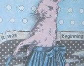 Rabbit & Dog Collage Print, Woodland, Fantasy, 5x7, Mixed Media Art, Animal Art