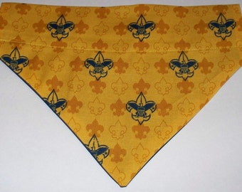Dog/Cat/Ferret-Reversible 2 in 1  Over the Collar Bandana CUB SCOUT Emblem//Custom made just for YOU and your pet