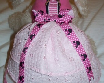 Fancy Pink Flower Party MINNIE MOUSE HARNESS Dress. Perfect Item for your Cat, Dog Or Ferret. All Items Are Custom Made.