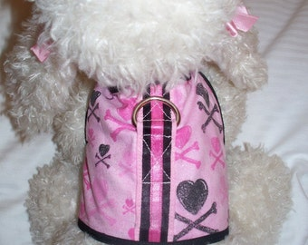 PINK BLACK HEARTS and SKULL Print HARNESS. Perfect Item for your Cat, Dog OR Ferret. ALL Items Are CUSTOM Made For Your PET.