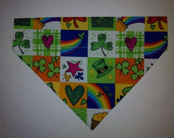 Lucky Shamrock St Patricks Leprechaun Over the Collar Reversible Bandana. Custom made just for YOU and your Dog Cat or Ferret.