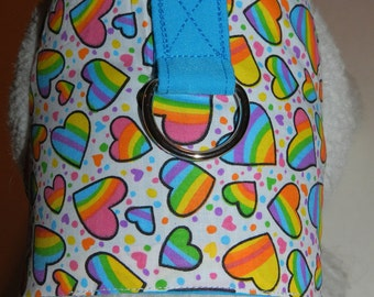 Rainbow & Hearts Harness. Perfect Item for your Cat, Dog or Ferret. All Items Are Custom Made For Your Pet.