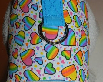 Rainbow & Hearts Harness Dress. Perfect Item for your Cat, Dog or Ferret. All Items Are Custom Made For Your Pet.
