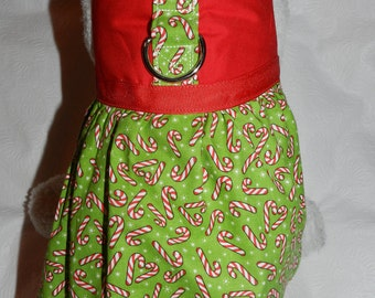 Christmas Holiday Festive Candy Cane Harness Dress. Perfect Item for your Cat, Dog or Ferret. All Items Are Custom Made For Your Pet.