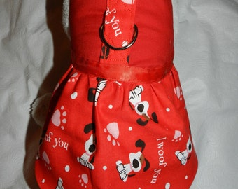 Festive Red I WOOF YOU Valentines Harness Dress. Perfect Item for your Cat, Dog or Ferret. All Items Are Custom Made For Your Pet.