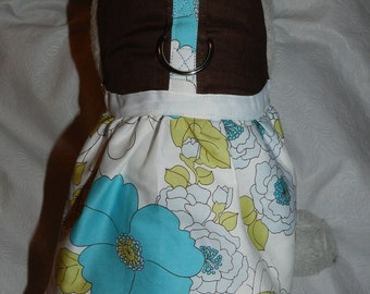 Gorgeous Chocolate Brown Blue Flower Floral Harness Dress. Perfect Item for your Cat, Dog or Ferret. All Items Are Custom Made For Your Pet.