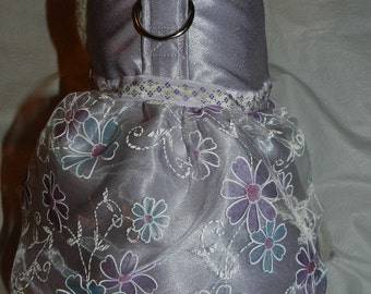 LILAC LAVENDER Organza & Satin Wedding Bridal Party Harness Dress. Perfect Item for your Cat, Dog or Ferret. All Items Are Custom Made.