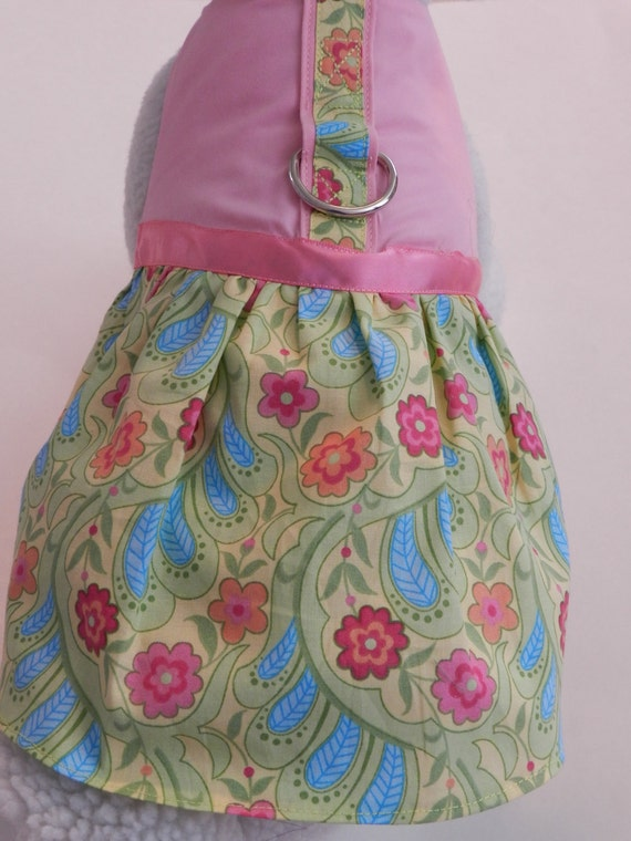 Pink Floral Paisley Flower Harness Dress. Perfect Item for your Cat, Dog or Ferret. All Items Are Custom Made For Your Pet.