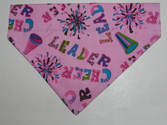 CHEERLEADER Pink Pom Pom Dog/Cat/Ferret-Reversible 2 in 1 Over the Collar Bandana//Custom made just for you and your pet
