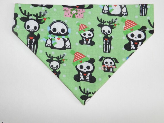 Christmas GOTHIC Santa Skulls and Skeletons Dog, Cat, Ferret-Reversible 2 in 1 Over the Collar Bandana. Custom made just for your pet