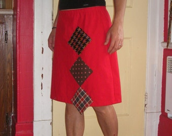 Red A line skirt in flax