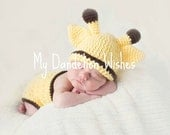 Crocheted Giraffe Hat - NB to Toddler Sizes