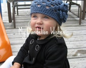 SUPER SALE - Spring Fling Beanie with Flower - Crocheted - Newborn to Toddler Sizes
