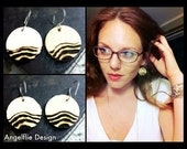 Wooden Earrings - Beach Waves - Pyrography - Perfect Gift Idea
