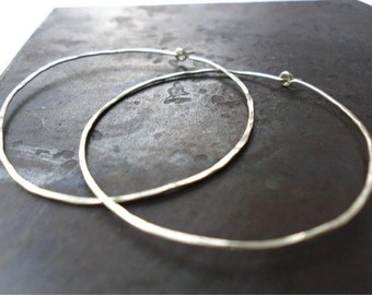 Silver Hoop Earrings - Hand Pounded - Sterling Silver - Simple - Tarnish Resistant - 5cm - Perfect Gift Idea