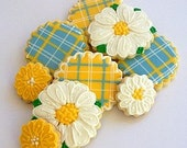Flower Cookies - Spring Daisies and Plaids - Cookie Collection