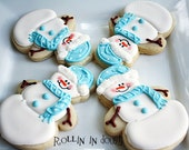 Snowman Cookies, Snowmen, Christmas Cookies, Holiday Cookeis - 1 Dozen