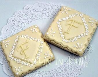Monogram Cookies , Wedding Cookies, Initial Cookies- Square - 1 Dozen