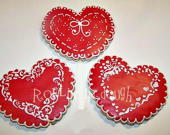 Valentine Cookies, Valentine Heart Cookies, Valentine Heart Stenciled Cookies - 6 Cookies