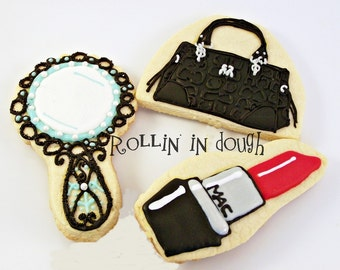 Purse Cookies, Lipstick Cookies, and Mirror Cookies- 1 Dozen Cookie Favors