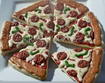 Pizza Cookies - 1 Dozen Cookie Favors