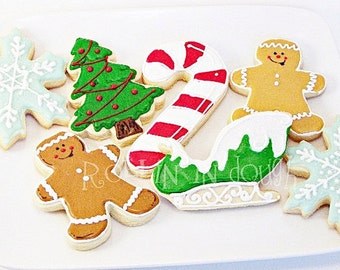 Christmas Cookies,  Christmas Trees, Candy Canes, Sleigh, Gingerbread Man and Lady, Snowflakes - 1 Dozen