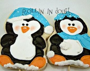 Penguin Cookies, Winter Cookies - 1 Dozen