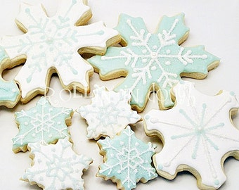 Snowflake Cookies, Winter Cookies, Holiday Cookies, Christmas Cookies - 1 Dozen