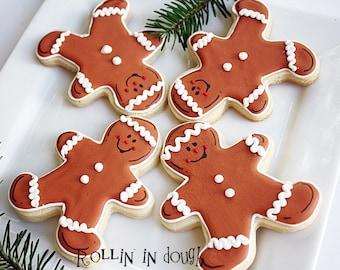 Gingerbread Men Cookies, Christmas Cookies, - 1 Dozen