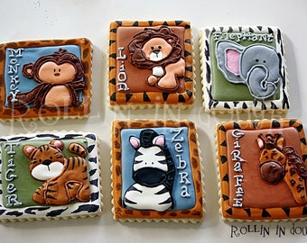 Zoo Animal Cookies, Jungle Animal Cookies, Safari Animal Cookies, Monkey, Lion, Elephant, Tiger, Zebra, Giraffe - 1 Dozen