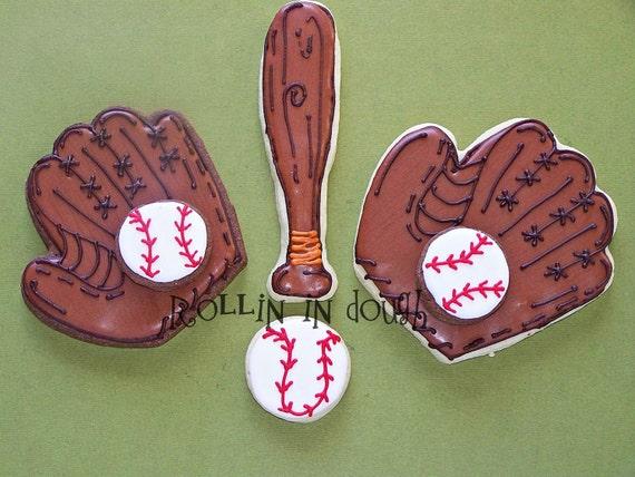 Baseball Cookies, Glove, Bat, Baseballl