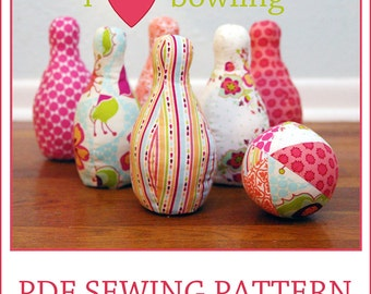 INSTANT DOWNLOAD i heart bowling PDF sewing pattern
