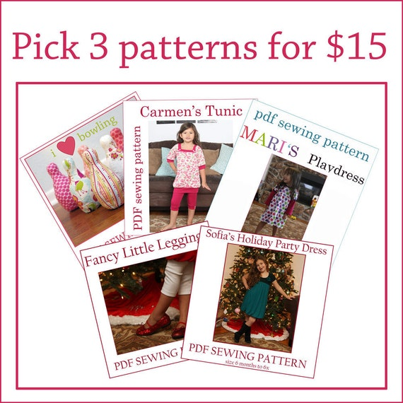 You Pick ANY 3 patterns for 15