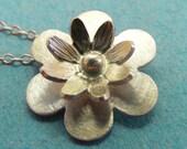 Flower Pendant ,Handmade Sterling Silver 925 Flower necklace , Flower shaped necklace.