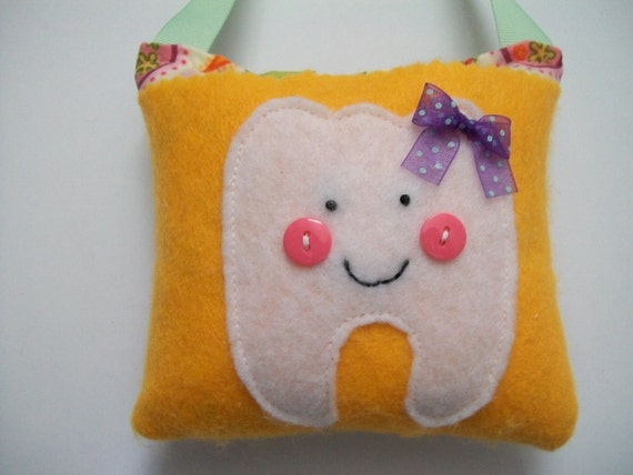 Girls Tooth Fairy Pillow Paisley Orange and Pink