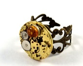 Steampunk Ring, Amber Gemstone Set, Adjustable