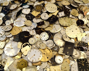 Vintage Watch Dials, Steampunk Supplies, Watch Faces, Watch Parts, Lot of 20
