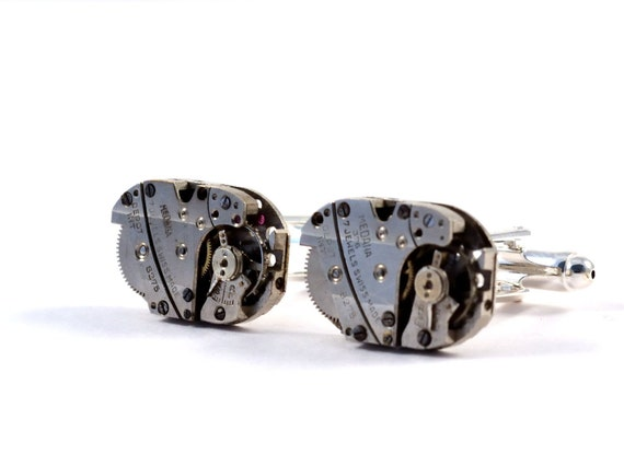 Steampunk Cufflinks, Vintage Watch Movements, Brushed Steel
