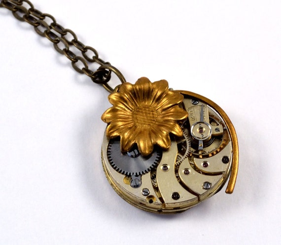 Steampunk Flower Necklace, Steampunk Pendant, Antique Watch Movement
