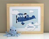 Airplane Boy with Name 8x10 Nursery Children's Art Print