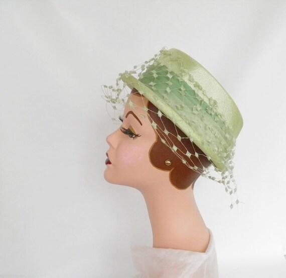 1960s boater hat, vintage lime green
