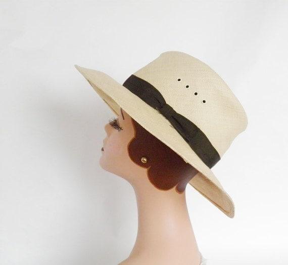 vintage straw hat, fedora, straw