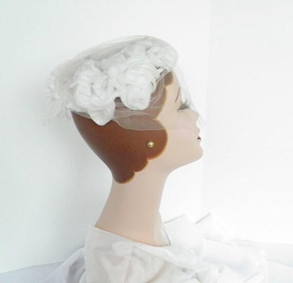 Reserved for P.  1960s bride hat, vintage wedding veil, 60s bridal hat